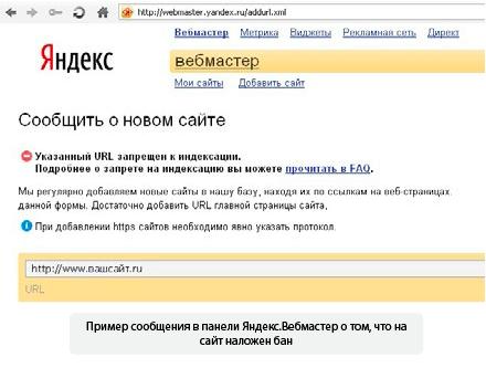 проверка сайта на бан яндекса